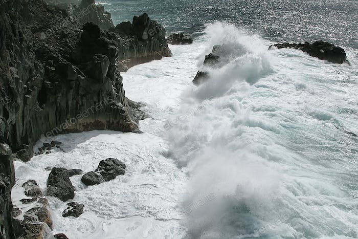 Rough waves in the west coast of La Palma island,