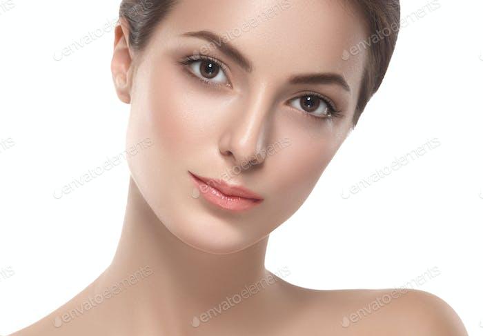 Happy beautiful woman studio face portrait