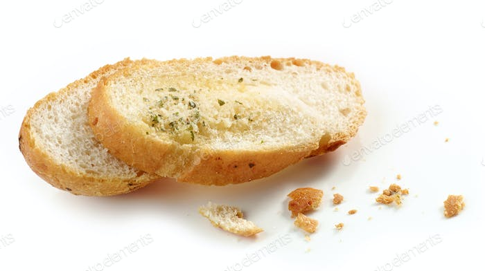 grilled bread slices and crumbs