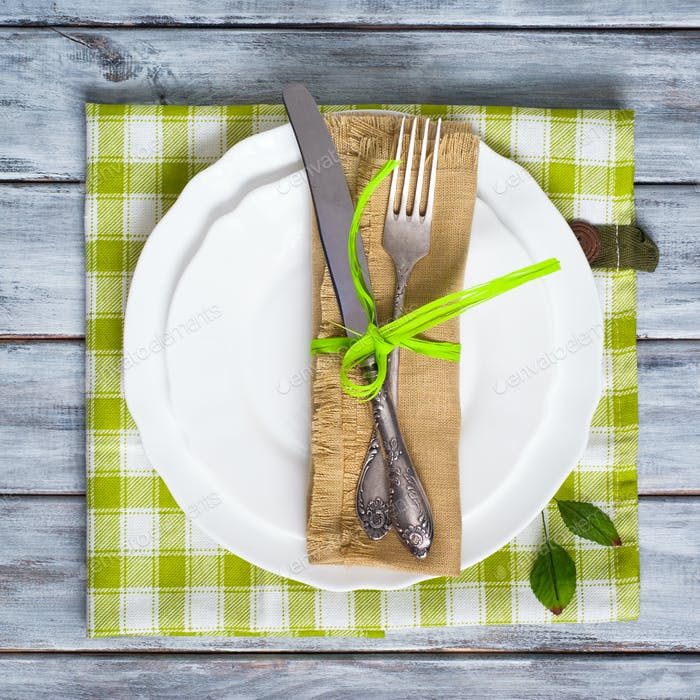 Table setting with napkin