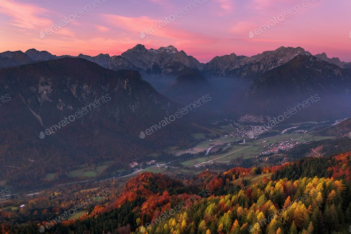 Autumn views of the mountains and villages