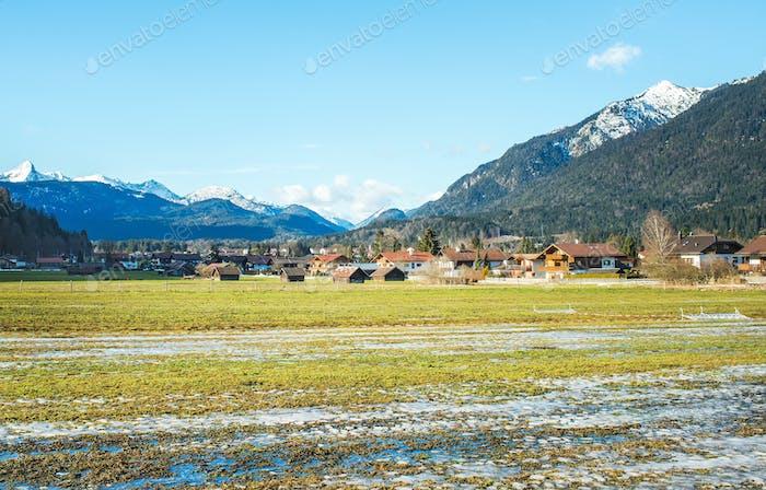The green valley in Bavarian Alps near Garmisch-Partenkirchen to