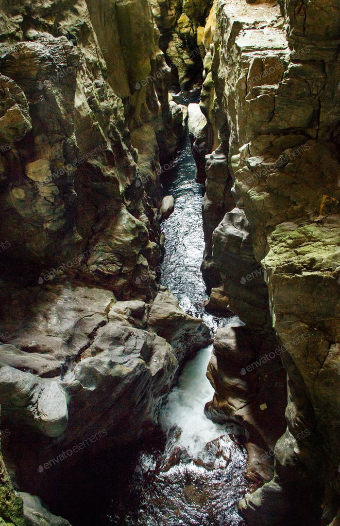 Resurgence of Bussento river in the cave in the natural reserve of Morigerati