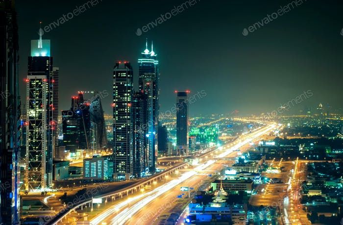 Road leading to Abu Dhabi during rush hour, Dubai, United Arab Emirates