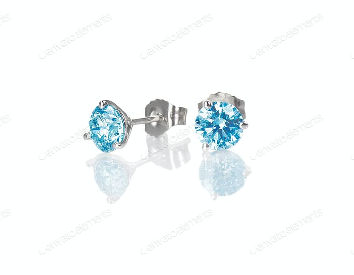 Blue diamond stud earrings topaz round brilliant