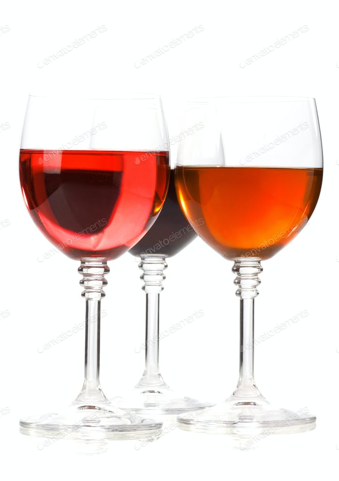 wine in glass isolated on white