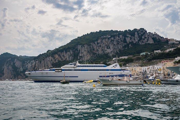 Passenger ship in port on Capri Island