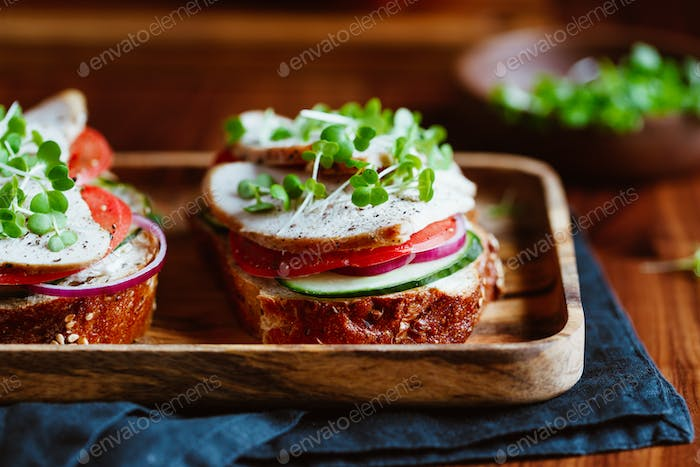 Sandwiches with turkey meat and fresh vegetables