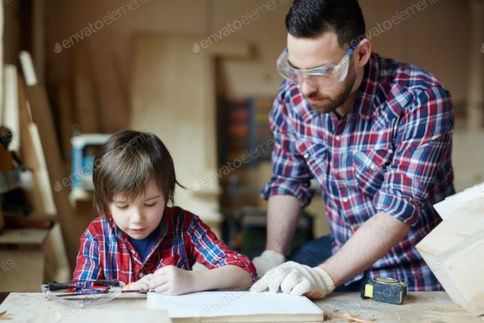 Boy sketching
