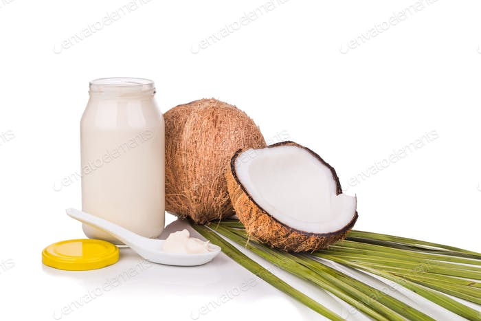 Jar containing coconut oil are used as cooking ingredient