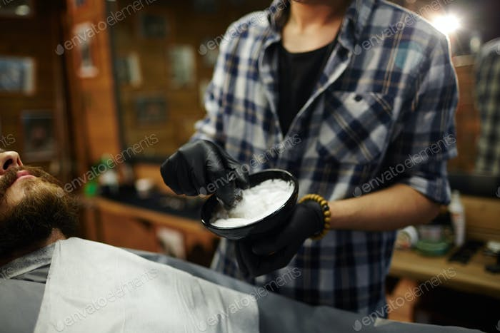 Master with shaving foam