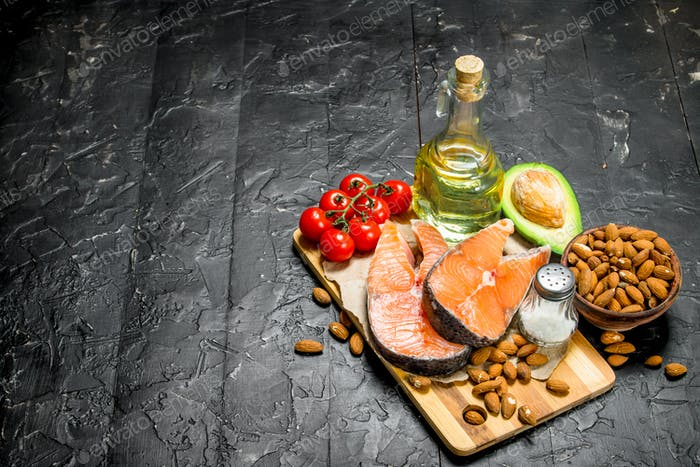Healthy food. Salmon with organic food .