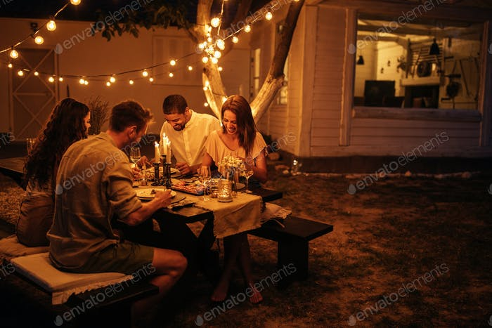 Dinner date in a backyard