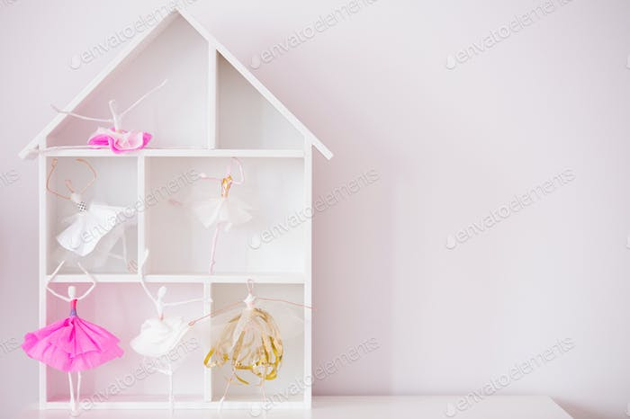Decorative wood house shelf