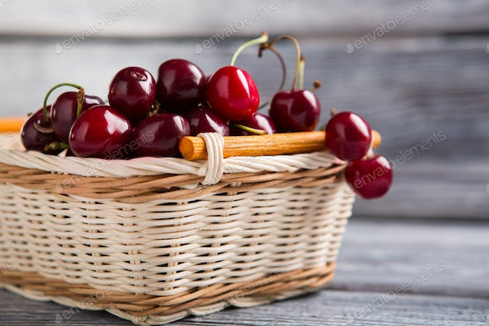 Basket filled with cherries