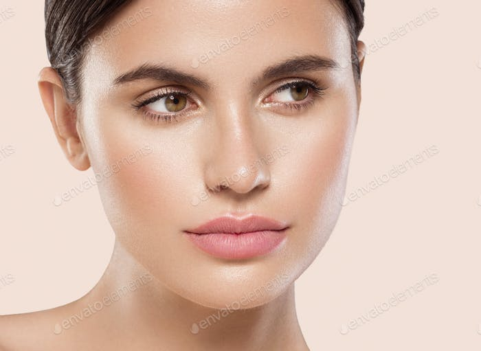 Beautiful woman face beauty lips eyes brows