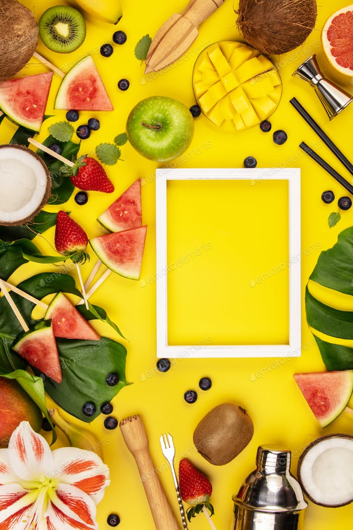 Fruits, berries, tropical plants and bar equipment on yellow background, flat lay