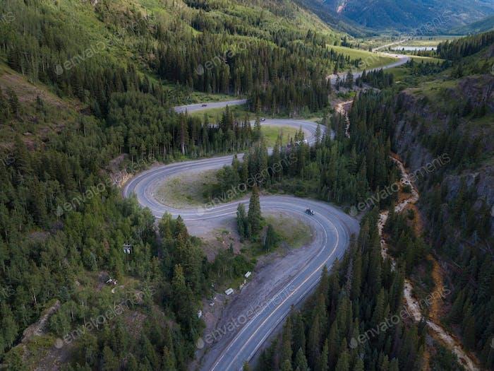 Million Dollar Highway Colorado Route 550 in der Nähe von Ouray Aerial