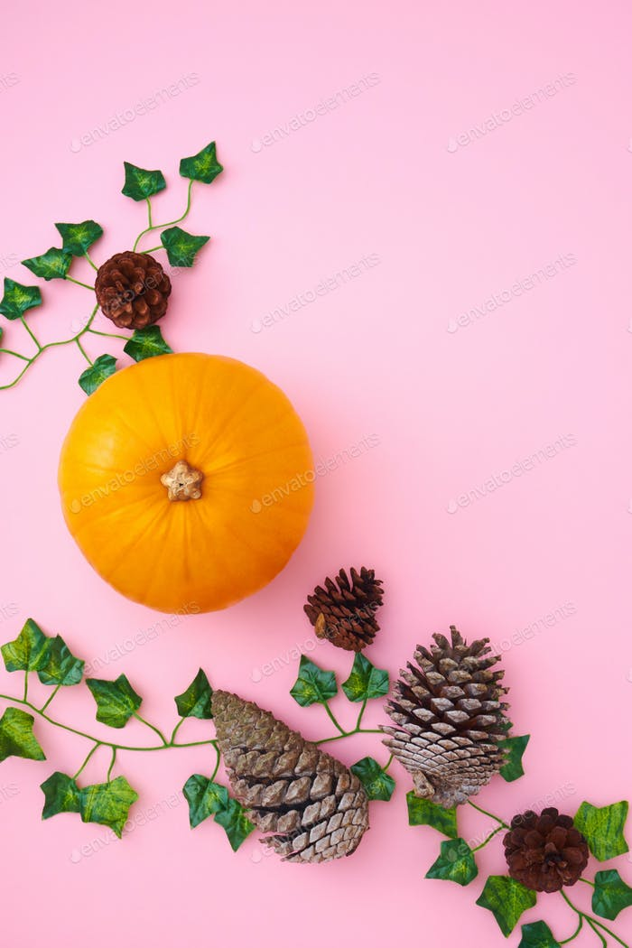 Overhead Flat Lay Autumn Banner Of Pumpkins With Ivy Leaves And Pine Cones On Pink Background