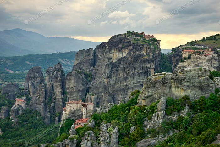 Landscape of Meteora monasteries, Greece