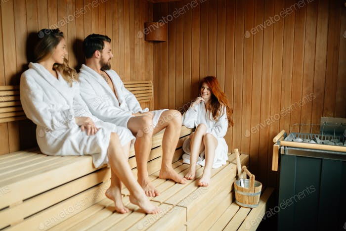 People in sauna relaxing