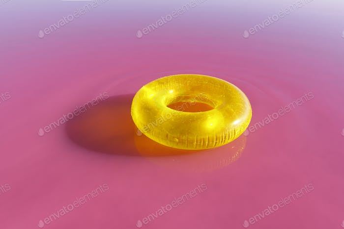 Bright yellow inflatable ring float in pink water lake