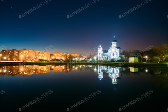 Evening View Of Illuminated Alexander Nevsky Orthodox Church And