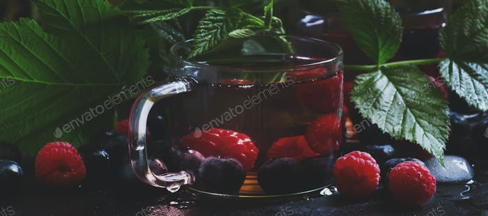 Ice herbal tea with forest berries