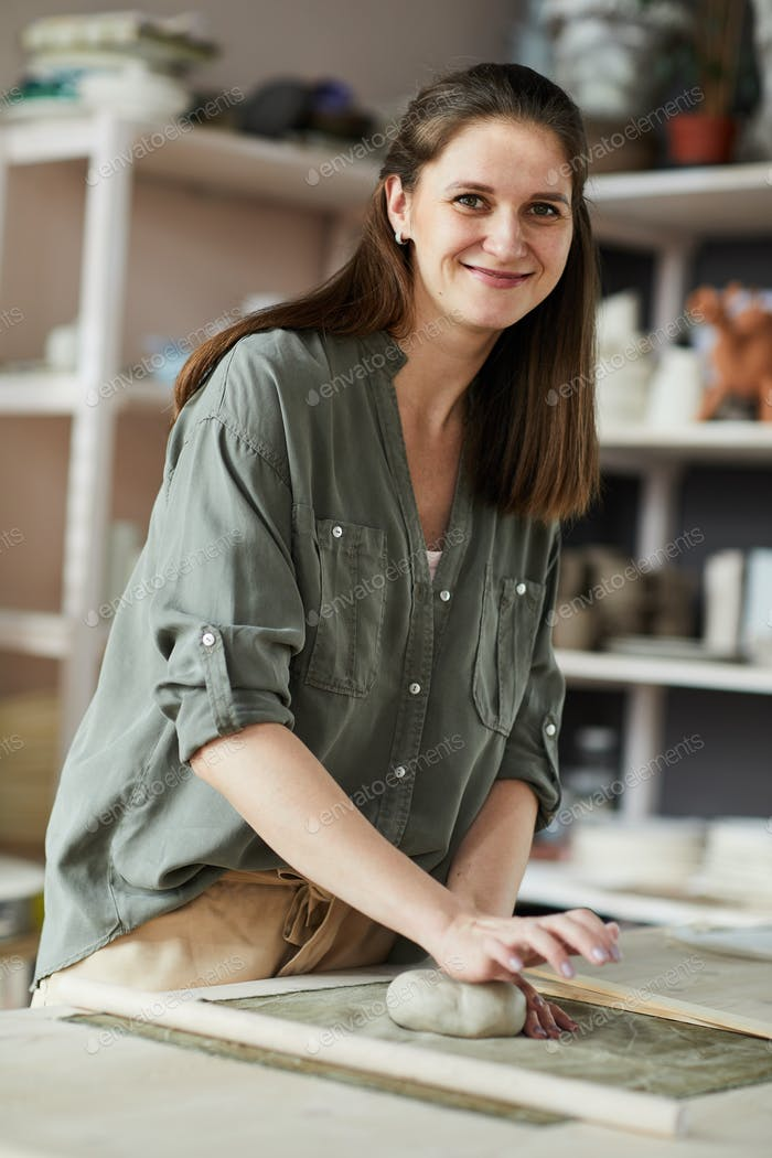 Young Woman Working with Clay