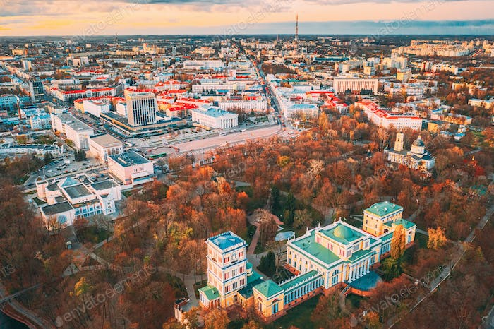Gomel, Belarus. Aerial View Of City Park Paskeviches Palace And Homiel Cityscape Skyline In Autumn