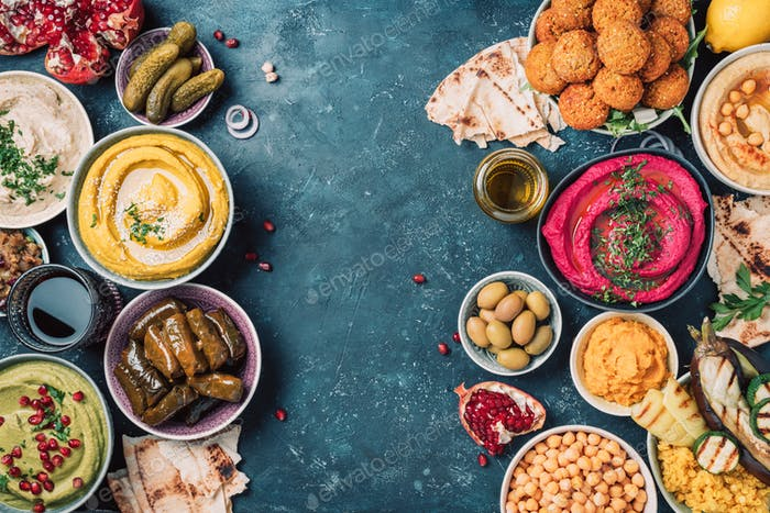 Mediterranean appetizer concept. Arabic traditional cuisine. Middle Eastern meze with pita, olives