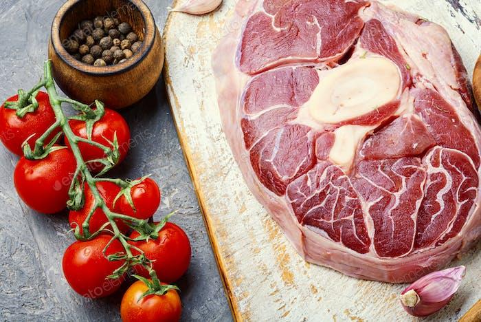 Raw fresh beef rib eye steak