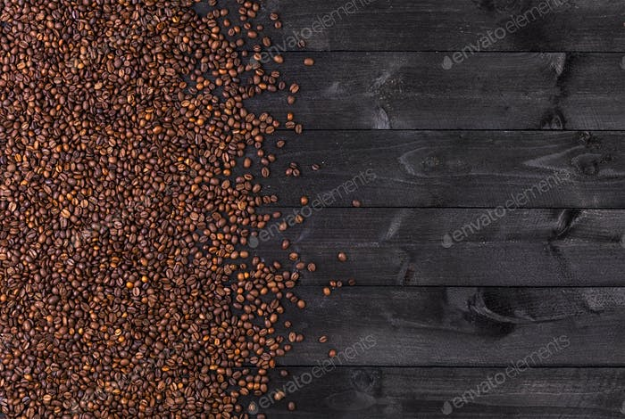 Coffee beans. Top view with copy space