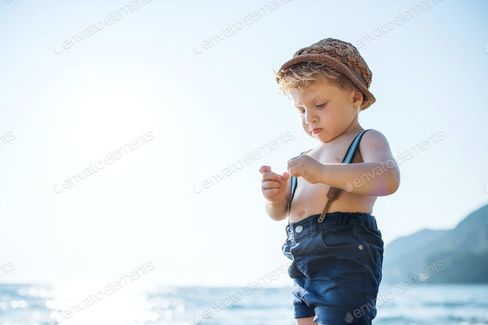 A small toddler boy with hat and shorts standing on beach on summer holiday.