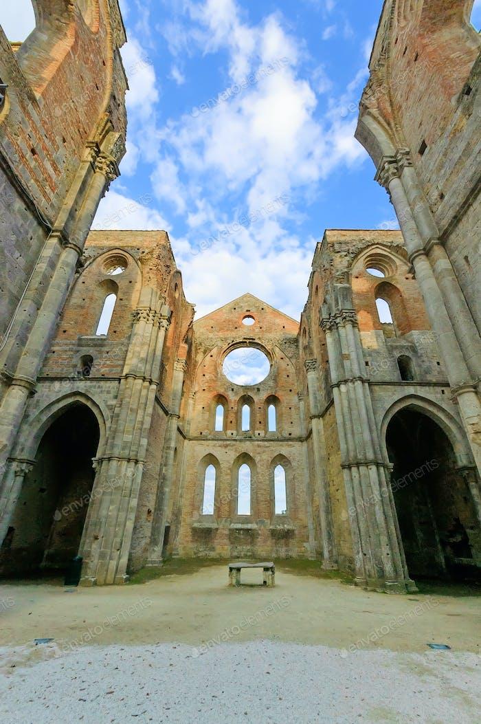Saint or San Galgano uncovered Abbey Church ruins. Tuscany, Italy