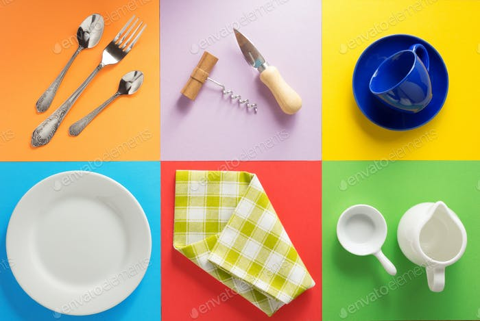 kitchenware at colorful background