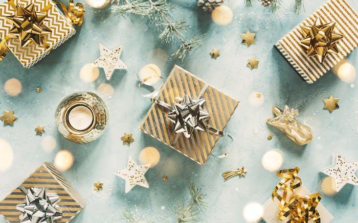 Fondo de vacaciones con regalos de Navidad