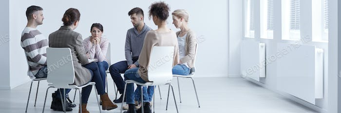 Sitting in circle with psychologist