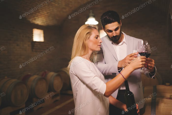 People tasting wine in winery basement