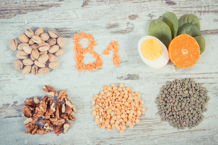 Ingredients containing vitamin B1 and dietary fiber, healthy nutrition concept