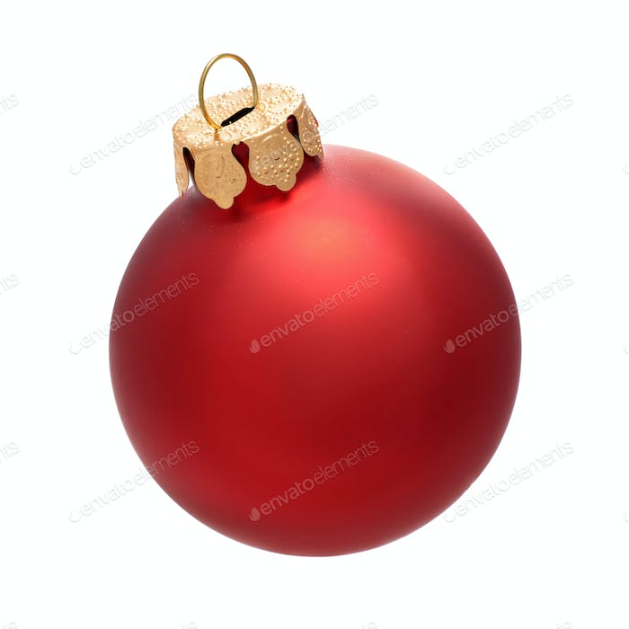 Christmas red bauble isolated