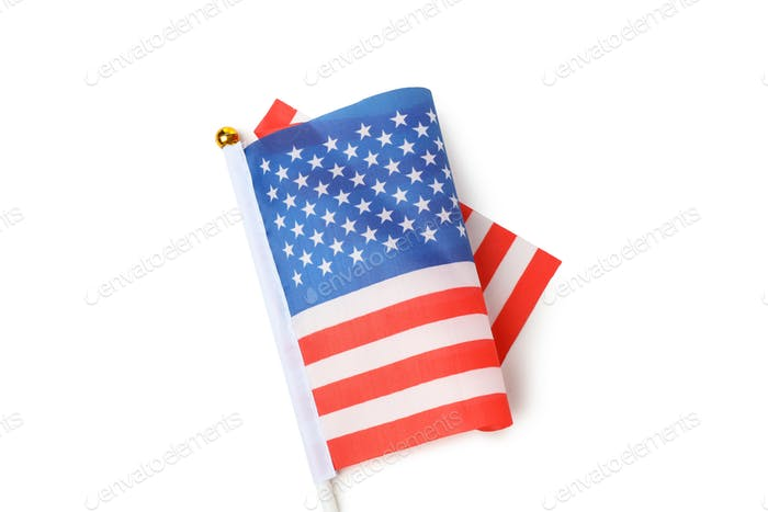 Bandera americana para mesa aislada sobre fondo blanco