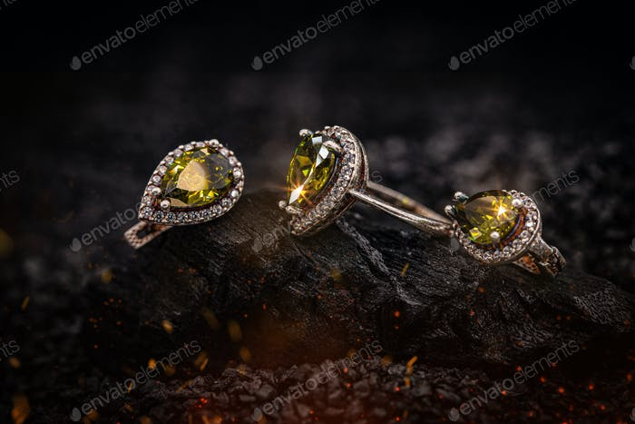 Ring and earring with gems