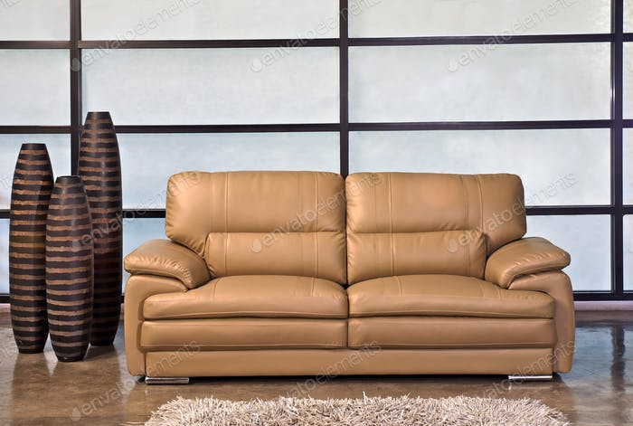 Leather sofa, Light brown in the office