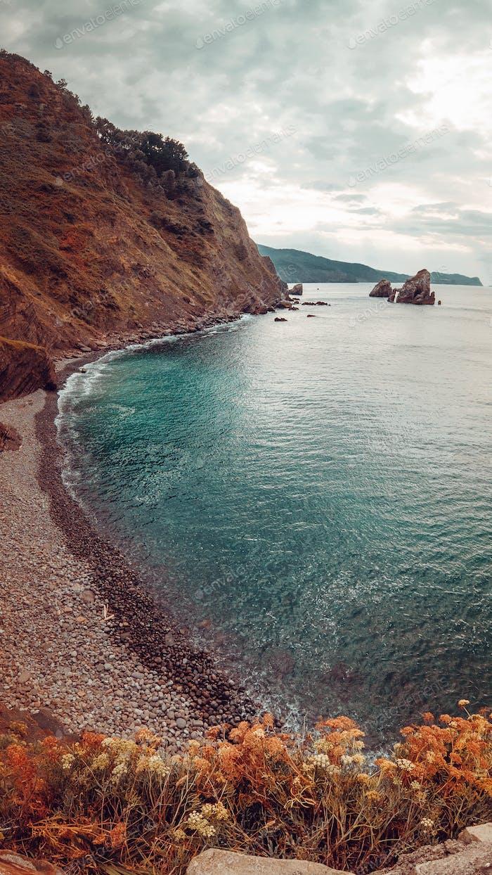Pointy cliff near the ocean