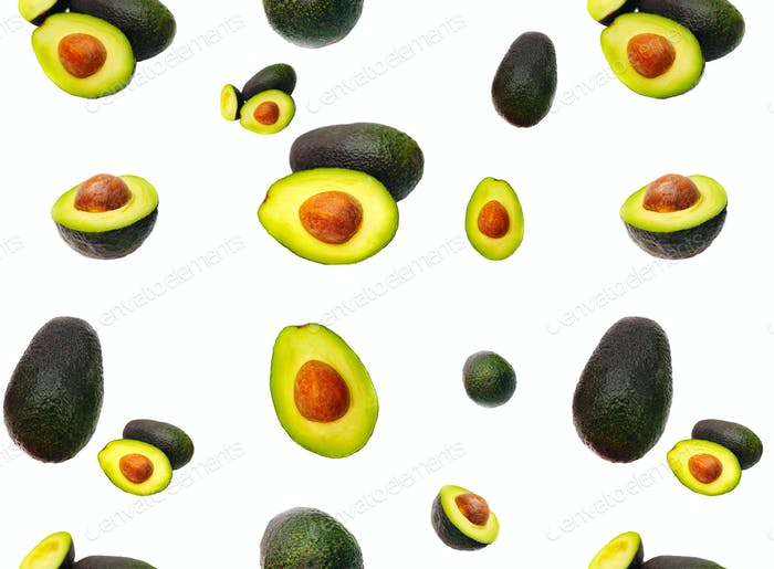 Avocado pattern on white background