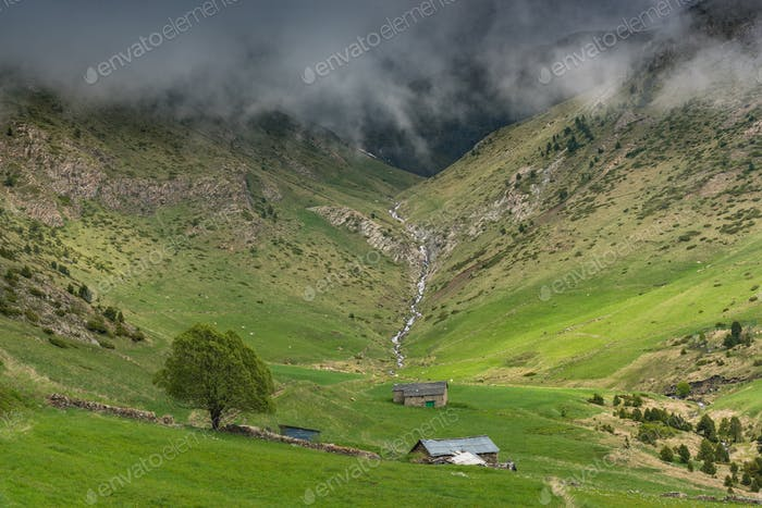 Farmlands in high Pyrenees,Andorra