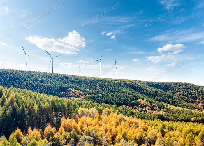 wind turbines on the hillside