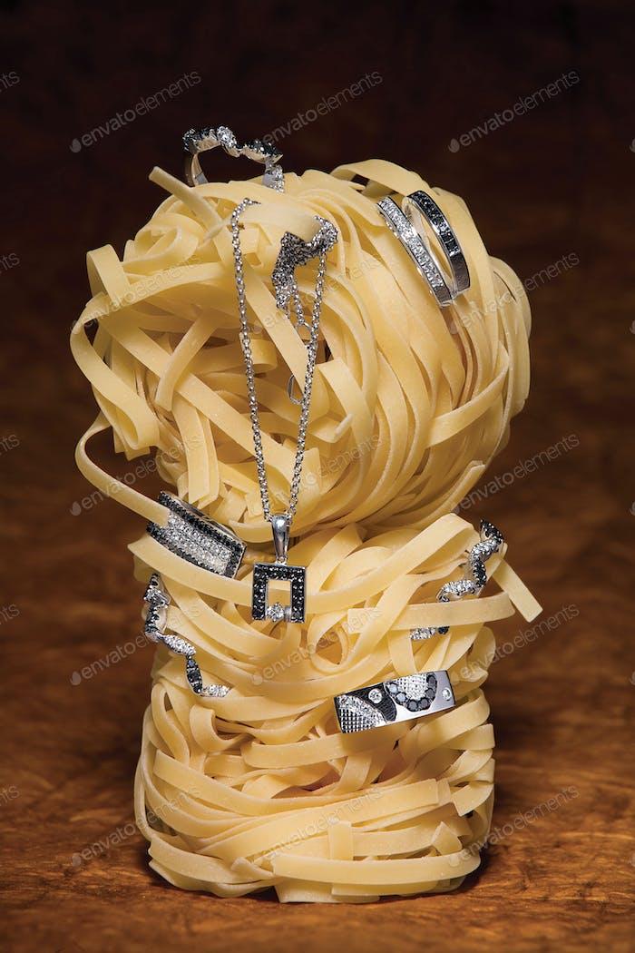 Jewelery On Noodle Rolls