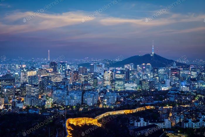 Seoul skyline in the night, South Korea.